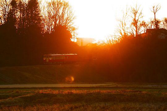 段丘の夕日